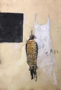 Pizzi Cannella, Falco e vestito (opera veggente), 2018, tecnica mista su carta, cm 80x50